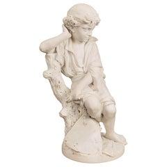 Italian 19th Century White Carrara Marble Statue of a Young Benjamin Franklin