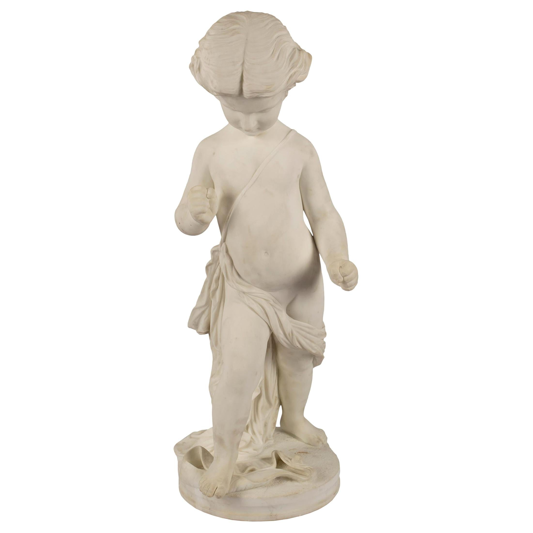 Italian 19th Century White Carrara Marble Statue of a Young Boy