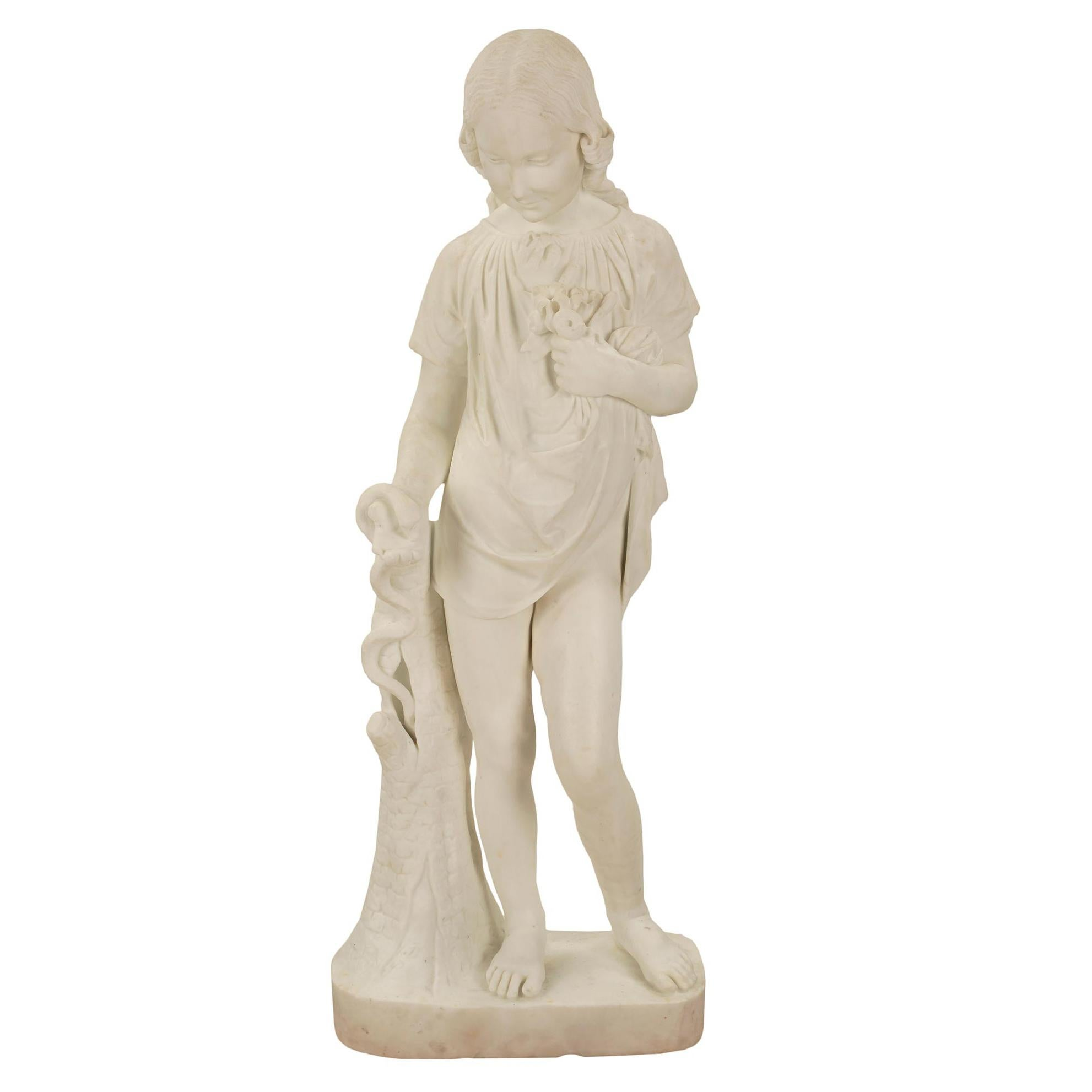 Italian 19th Century White Carrara Marble Statue of a Young Girl and Serpent