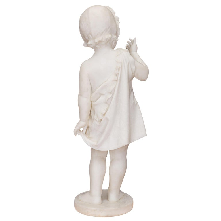 Italian 19th Century White Carrara Marble Statue of a Young Girl For Sale 1