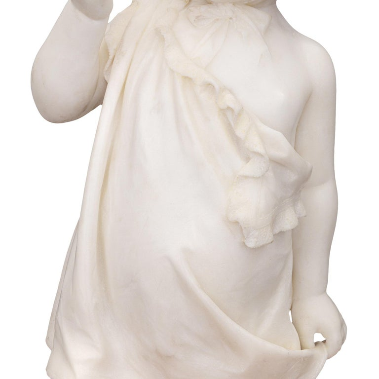 Italian 19th Century White Carrara Marble Statue of a Young Girl For Sale 3