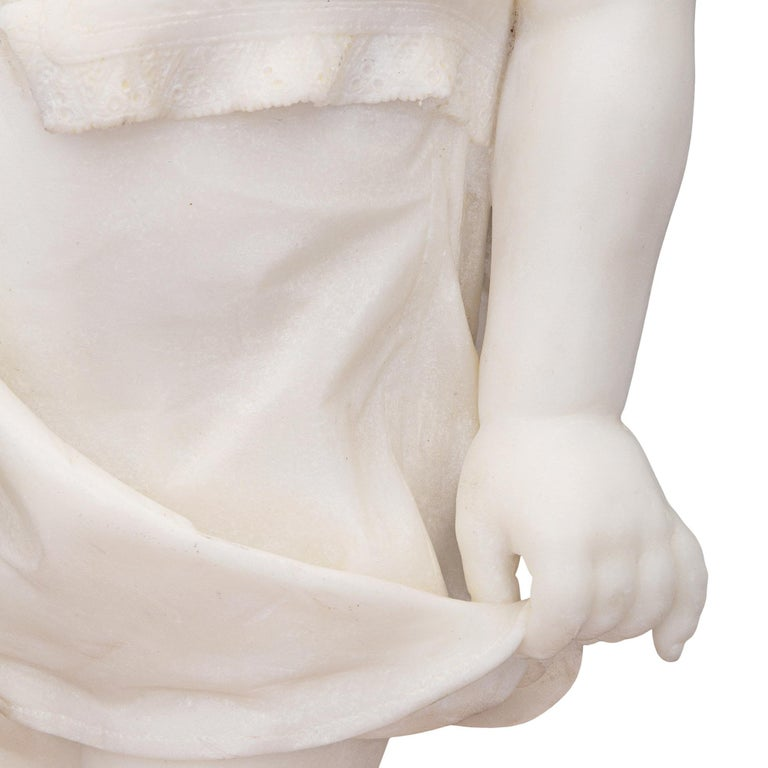 Italian 19th Century White Carrara Marble Statue of a Young Girl For Sale 4