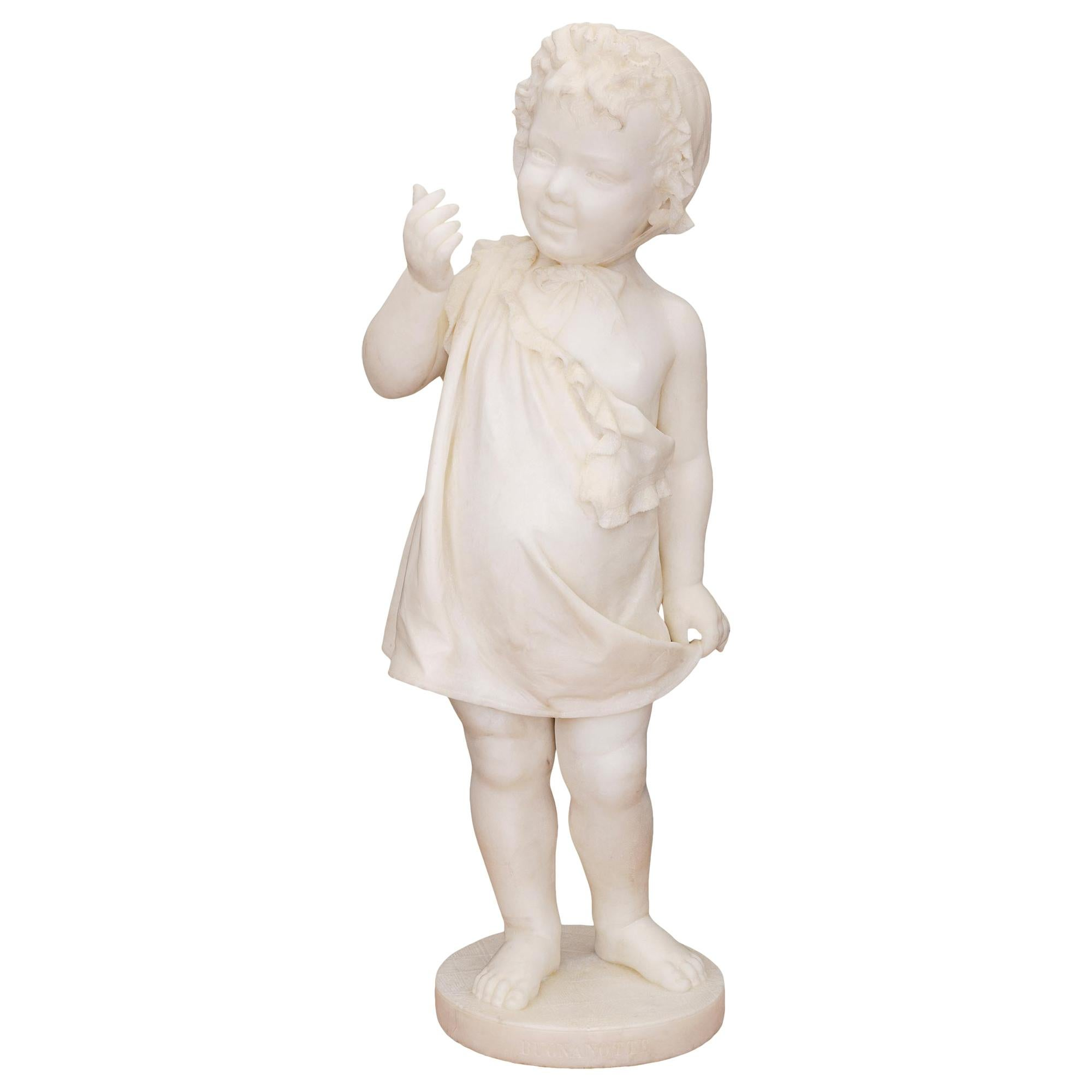 Italian 19th Century White Carrara Marble Statue of a Young Girl