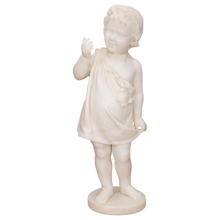 Italian 19th Century White Carrara Marble Statue of a Young Girl For Sale