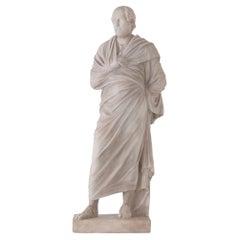 Italian 19th Century White Carrara Marble Statue of Aeschines