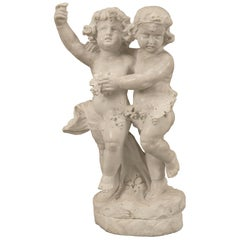 Italian 19th Century White Carrara Marble Statue of Two Children Playing