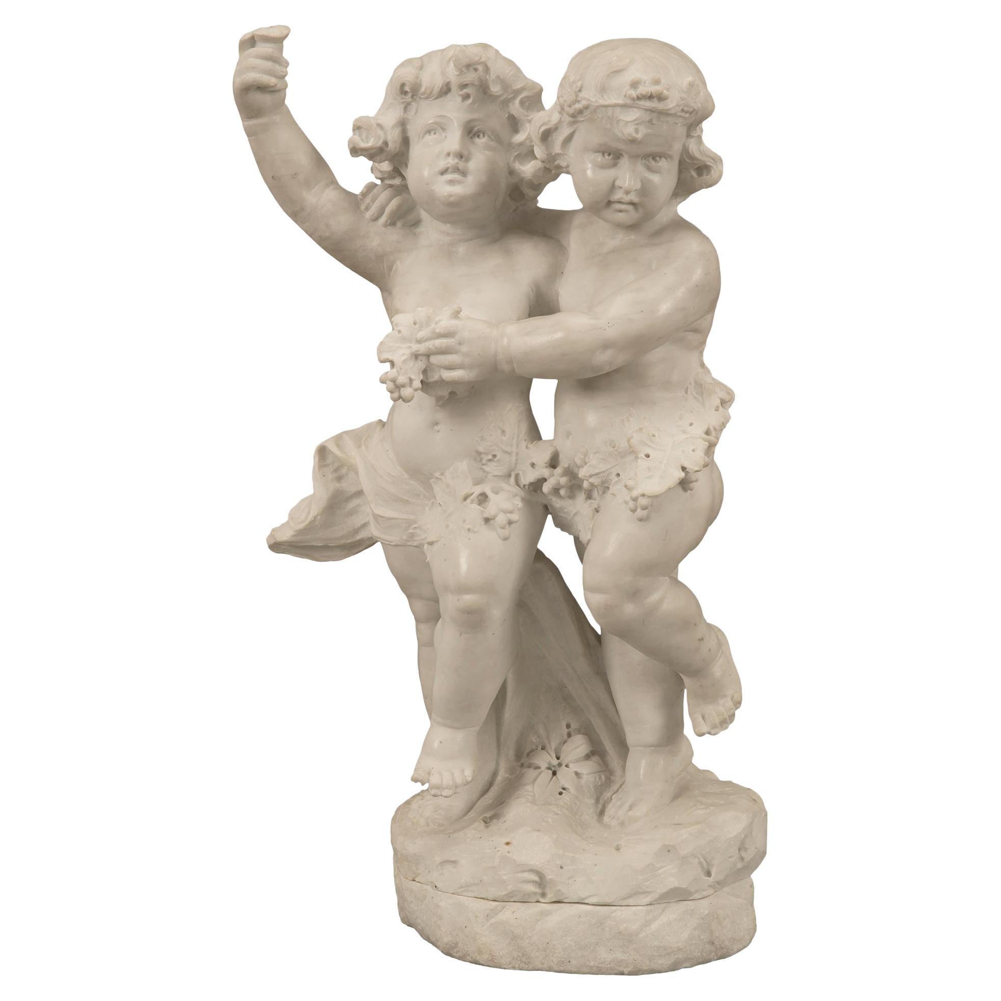 Italian 19th Century White Carrara Marble Statue of Two Children Playing