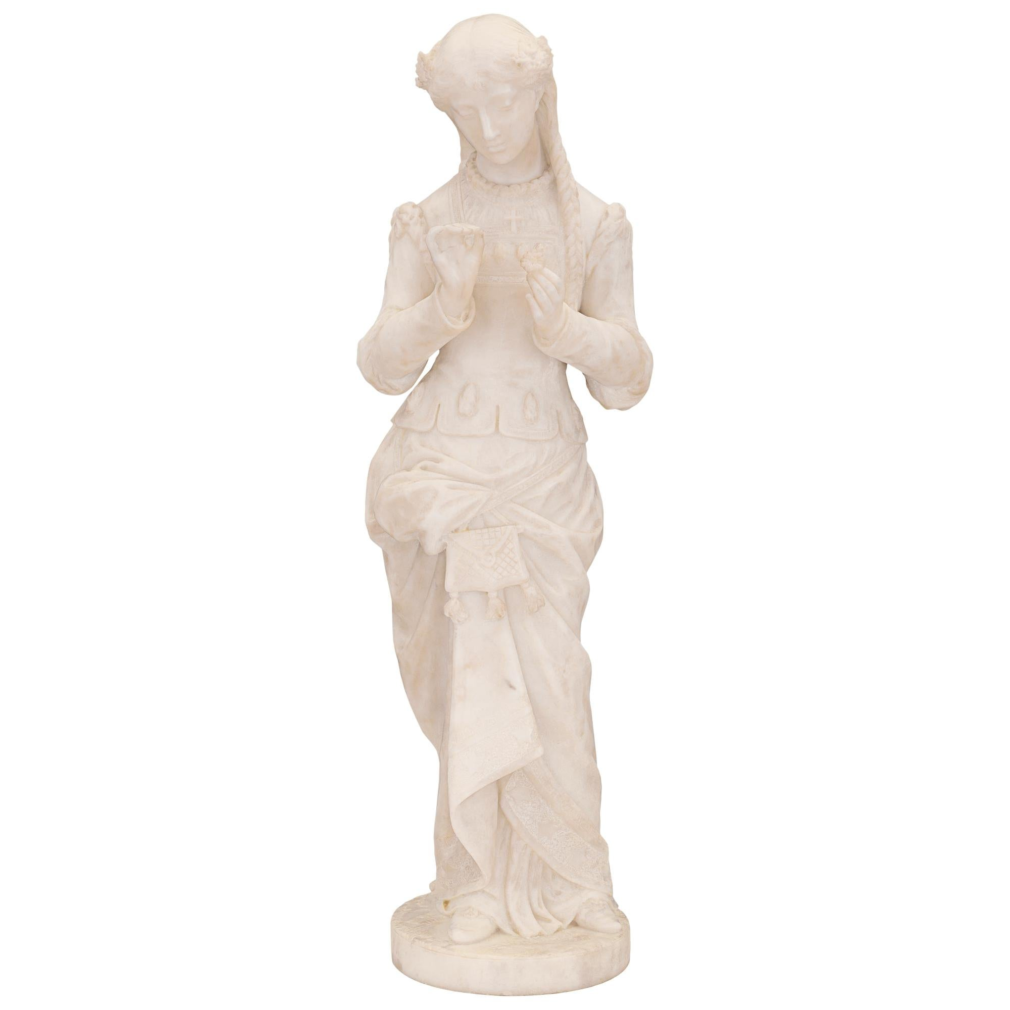 Italian 19th Century White Carrara Marble Statue, Signed P. Bazzanti Florence