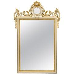 Italian 19th Century White Polychrome and Giltwood Mirror