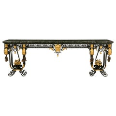 Italian 19th Century Wrought Iron and Marble Wall Mounted Console