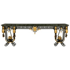 Italian 19th Century Wrought Iron and Marble Wall-Mounted Console