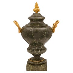 Italian 19th Neoclassical Scagloiola and Ormolu Urn