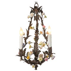 Italian 19th Century Wrought Iron and Saxe Porcelain Chandelier