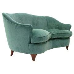 Italian 2-Seat Curved Green Velvet Sofa, 1950s