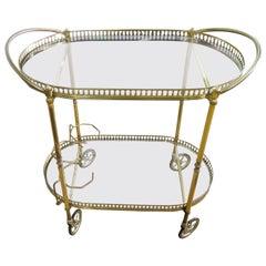 Italian 2-Tier Brass Bar Cart