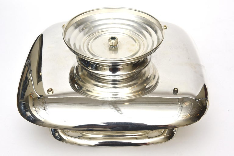 2-Tiered Swivel Silver Plate Serving Caddy or Serving Piece For Sale 4