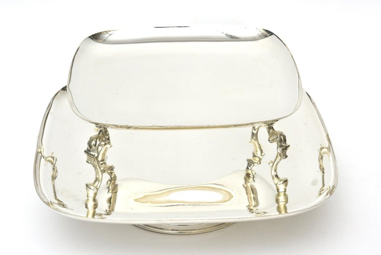 Modern  2-Tiered Swivel Silver Plate Serving Caddy or Serving Piece For Sale
