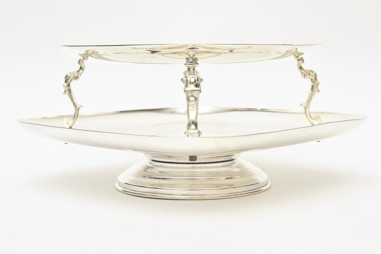 American  2-Tiered Swivel Silver Plate Serving Caddy or Serving Piece For Sale