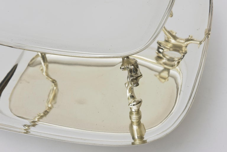 2-Tiered Swivel Silver Plate Serving Caddy or Serving Piece For Sale 1