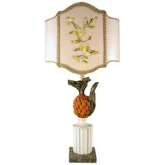 Italian 20th Century Pineapple Lamp Base Carved and Painted Tuscan Lamp Base