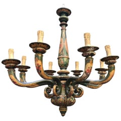 Italian 20th Century Carved and Painted Wood Chandelier Green Color with Flowers