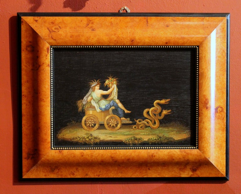 Neoclassical Revival Italian 20th Century Classic Style Tempera on Wood Panels Mythological Paintings For Sale