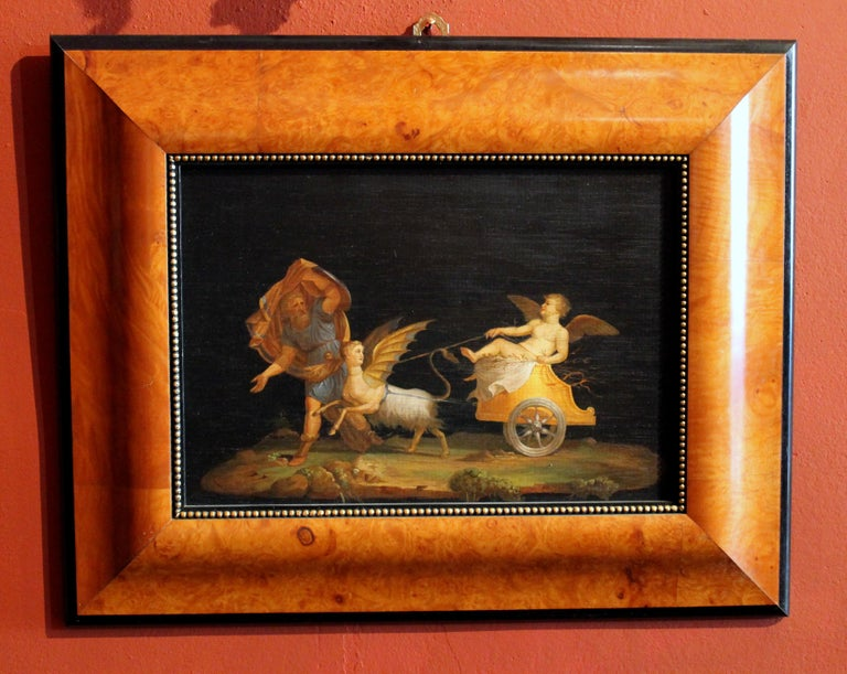 Ebonized Italian 20th Century Classic Style Tempera on Wood Panels Mythological Paintings For Sale