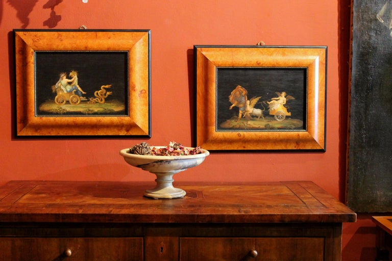 Italian 20th Century Classic Style Tempera on Wood Panels Mythological Paintings For Sale 4