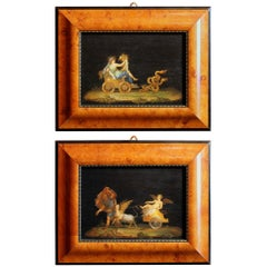Italian 20th Century Classic Style Tempera on Wood Panels Mythological Paintings