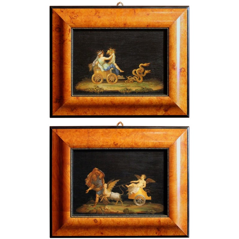 Italian 20th Century Classic Style Tempera on Wood Panels Mythological Paintings For Sale