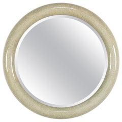 Italian 20th Century Lacquered Faux Granite Round Mirror