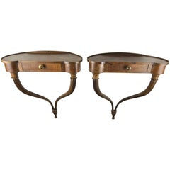 Italian 20th Century Pair of Walnut Wall Mount Curvy Consoles with Drawer