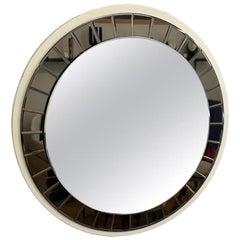 Italian 20th Century Round Mirror by Cristal Art, circa 1960s