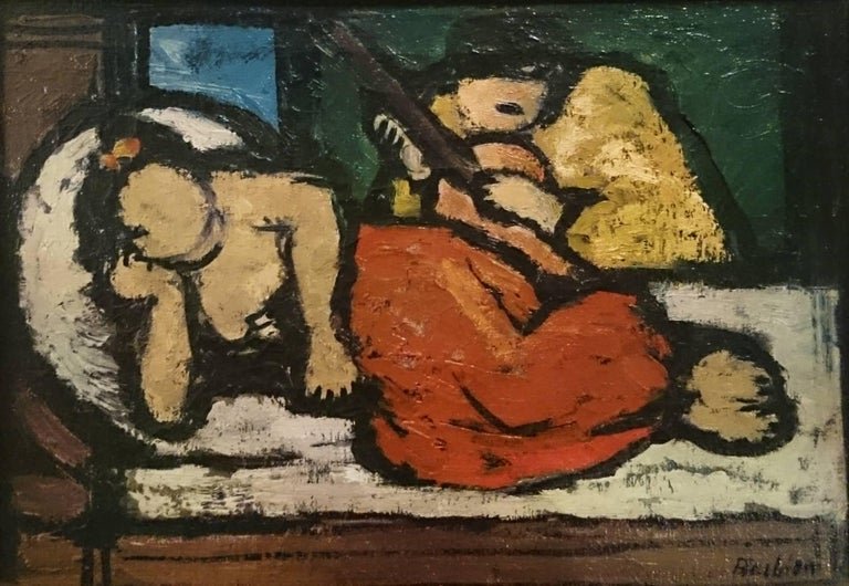 Oscar Barblan (Siena, 1909-Basel, 1987) 'Lying Odalisque' Oil on canvas Signed on bottom right.