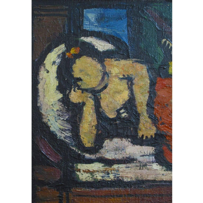 Italian, 20th Century Signed Oil on Canvas Painting by Oscar Barblan For Sale 3