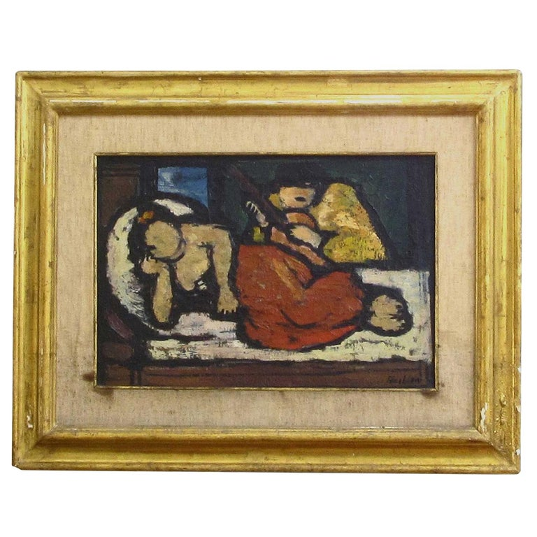 Italian, 20th Century Signed Oil on Canvas Painting by Oscar Barblan For Sale