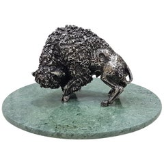 Italian 20th Century Solid Silver rare Bison Sculpture on Marble Removable Base