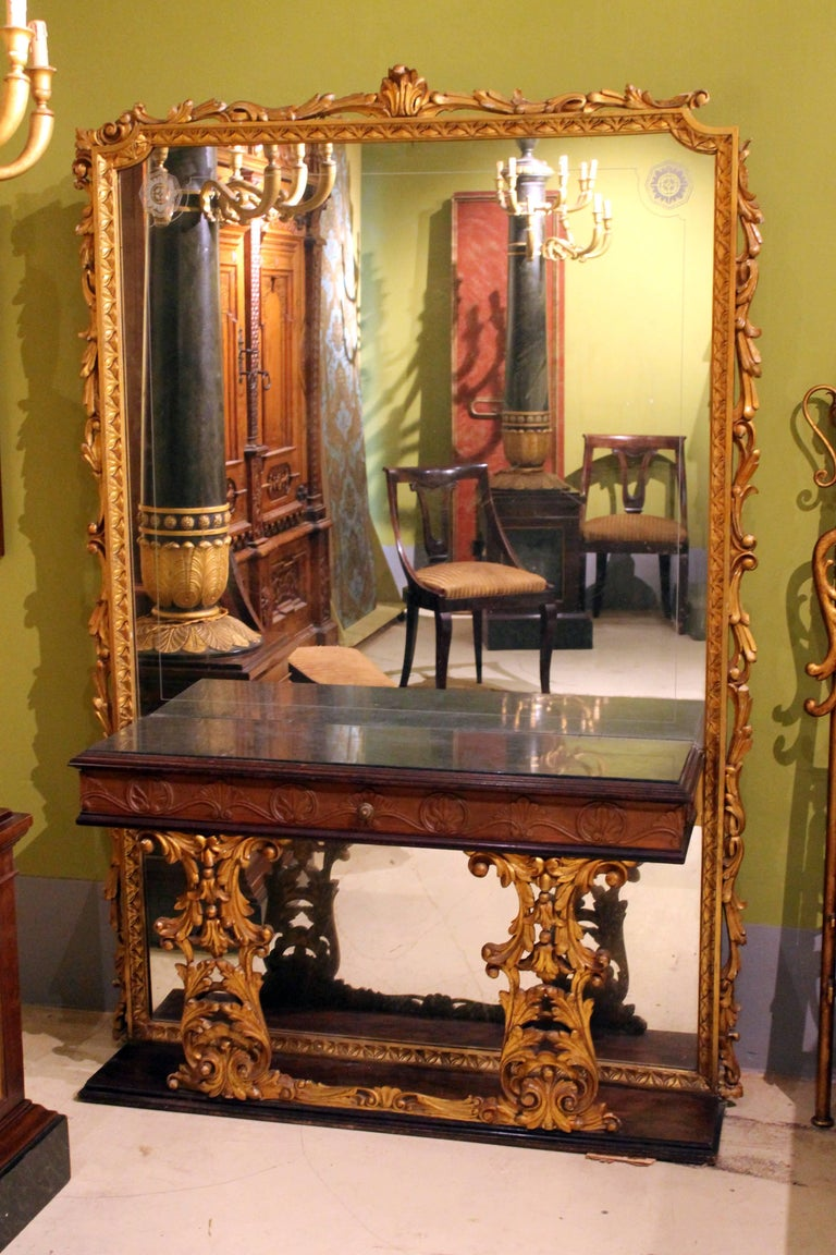 Italian 20th Century Walnut And Giltwood Mirrored Console Table With