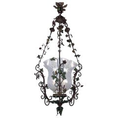Italian 20th Century Wrought Iron Hall Lantern Green Painted Leafted Chandelier