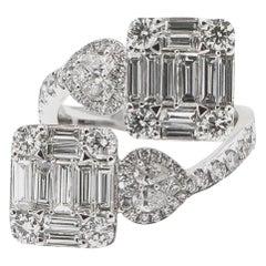 Italian 3.40 Carat Diamond Wrap Around Ring 18 Karat Gold