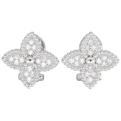 Italian .48 Carat Diamond Earrings 18 Karat White Gold