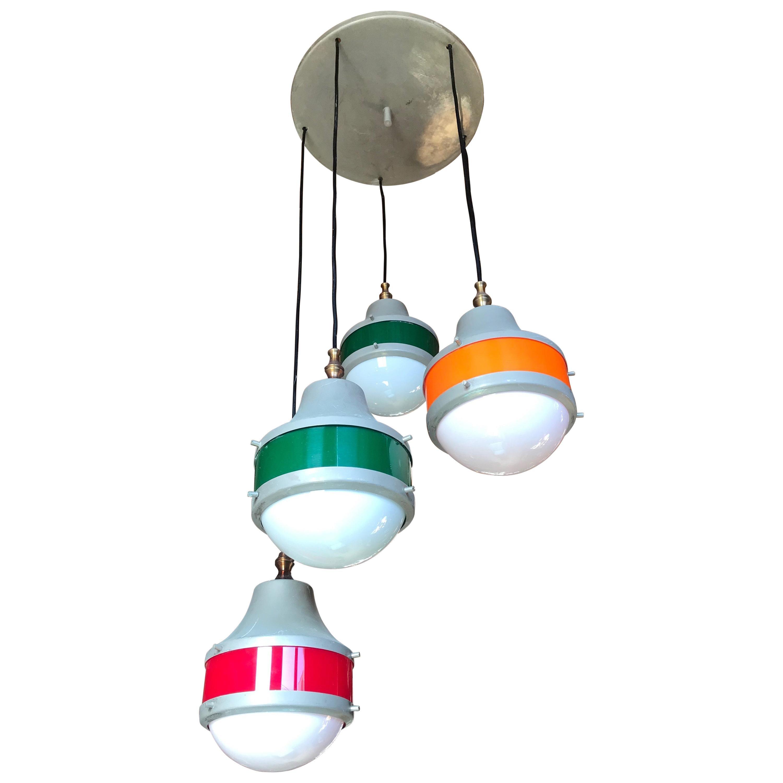 Italian 5-Light Plexiglass Chandelier Design Stilux, 1960s