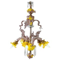 Italian 5-Light Venetian Murano Glass Floral Chandelier, 20th Century