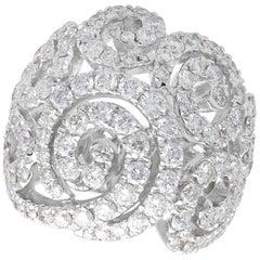 Italian 5.08 Carat Diamond and 18 Karat White Gold Dress Ring