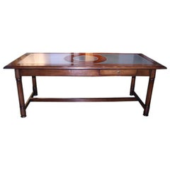 Italian 50's Inlaid Zinc Oak Table