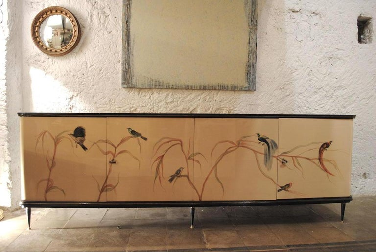 Mid-20th Century Italian 50s production cabinet sideboard with decorated doors For Sale