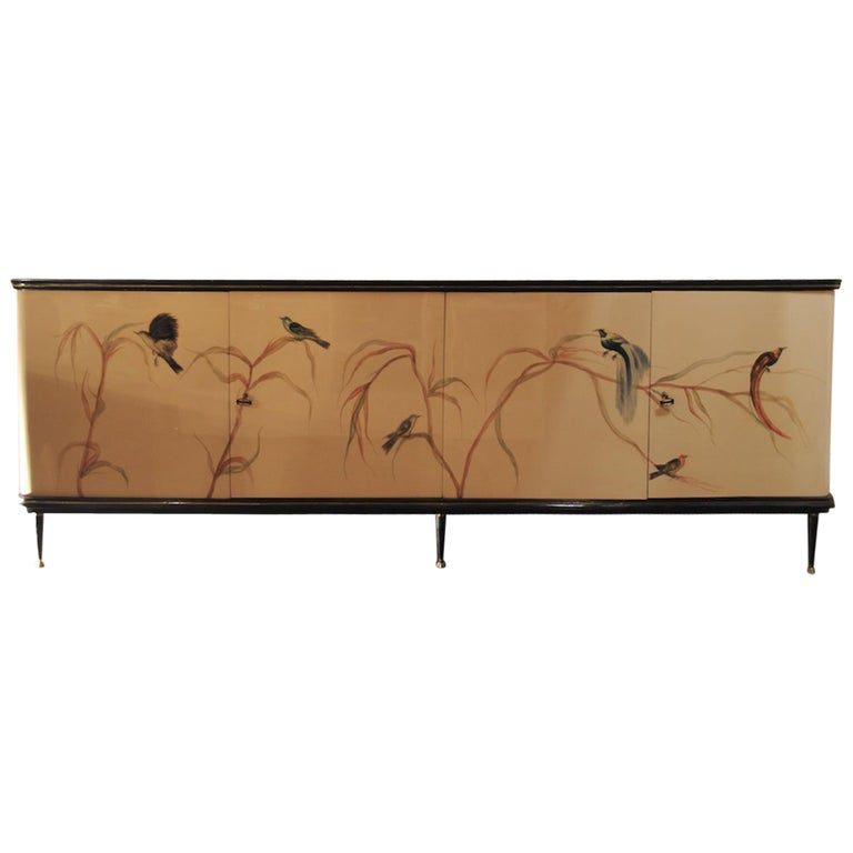 Italian 50s production cabinet sideboard with decorated doors For Sale