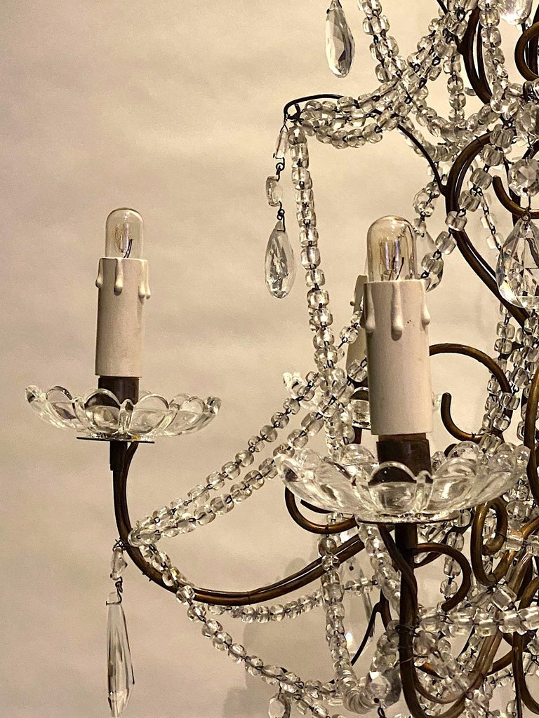 Italian 6 Light Gilt and Crystal Bead Swag Chandelier For Sale 5
