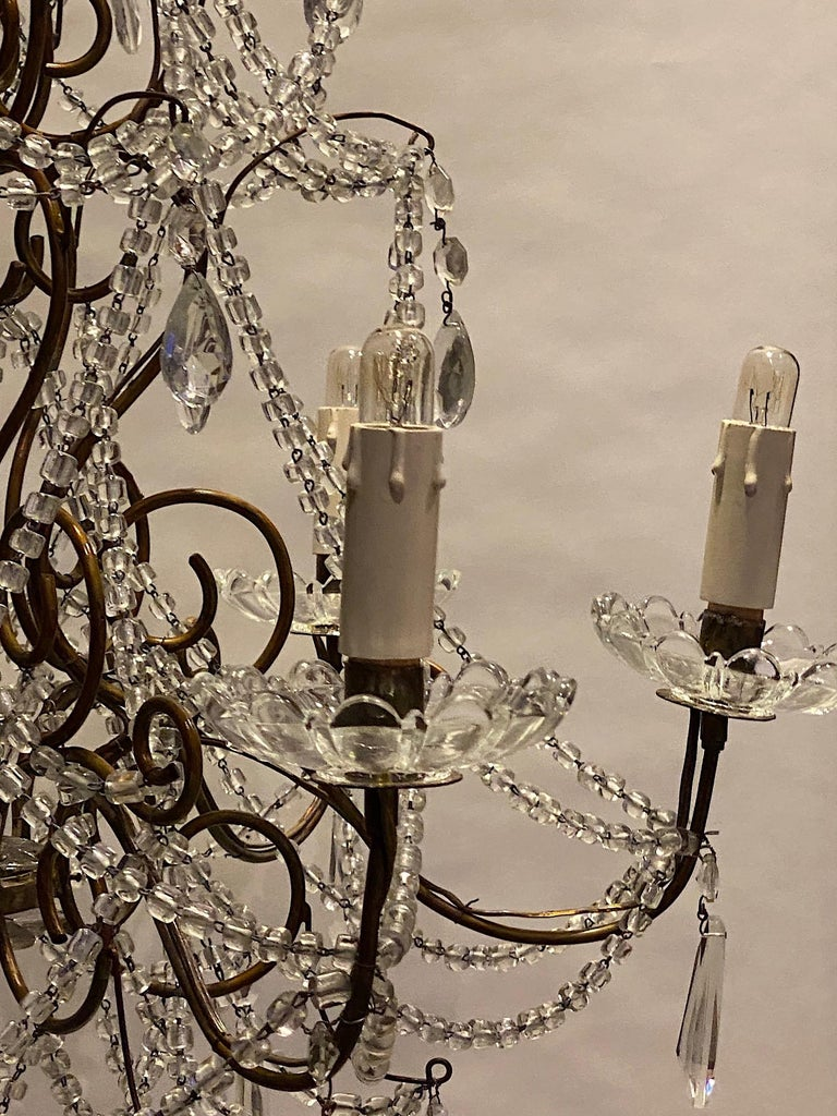 Italian 6 Light Gilt and Crystal Bead Swag Chandelier For Sale 6