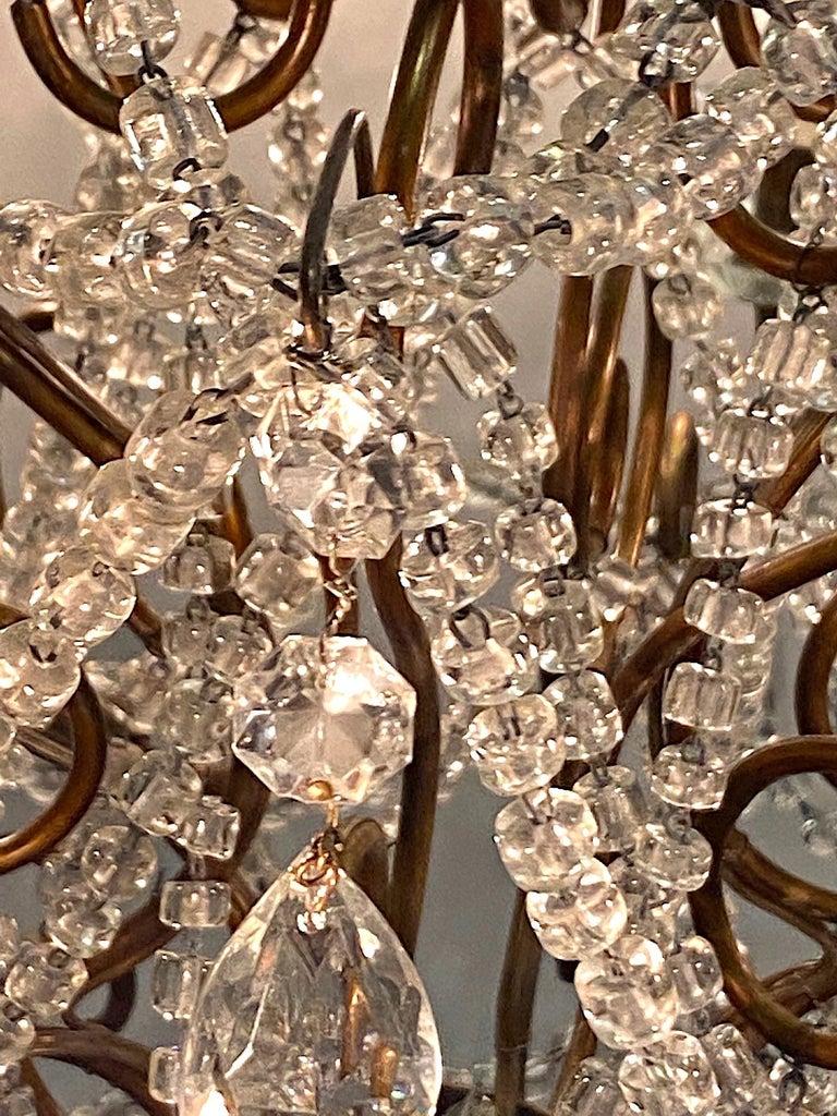 Italian 6 Light Gilt and Crystal Bead Swag Chandelier For Sale 8
